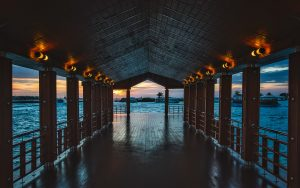 Maldives Wooden Pier with Lights