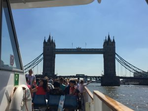 London tower bridge from boat