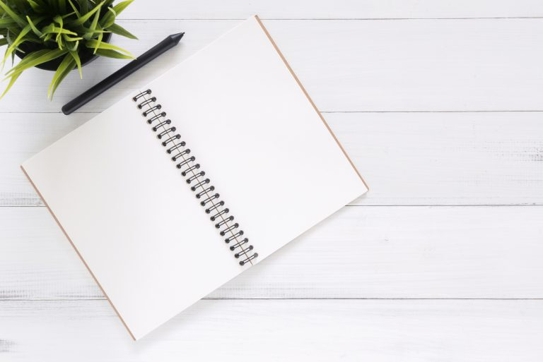 white blank notebook on white surface with black pen and green plant