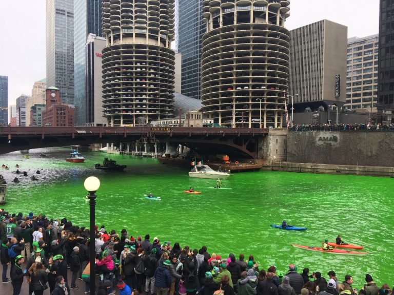 green river with boats in Chicago