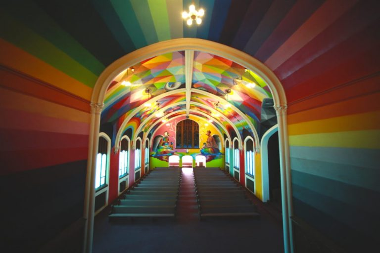 church with multicolored ceiling