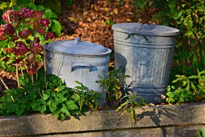 Gray Metal trash cans