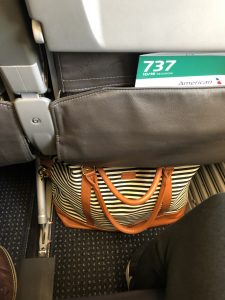 striped bag under seat on airplane