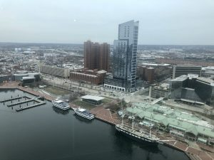 view of inner harbor in Baltimore from above