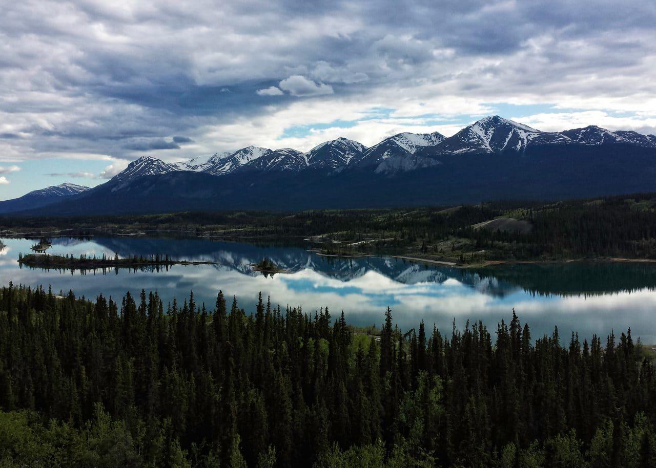 Mountain and lake scene at dawn