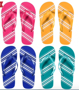 four pairs of striped flip flops