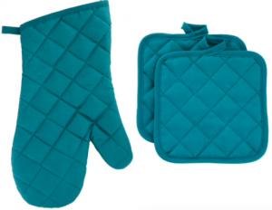 blue oven kit and pot holder