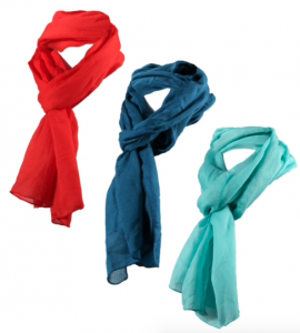 red and blue scarves