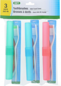 three toothbrushes and toothbrush cases