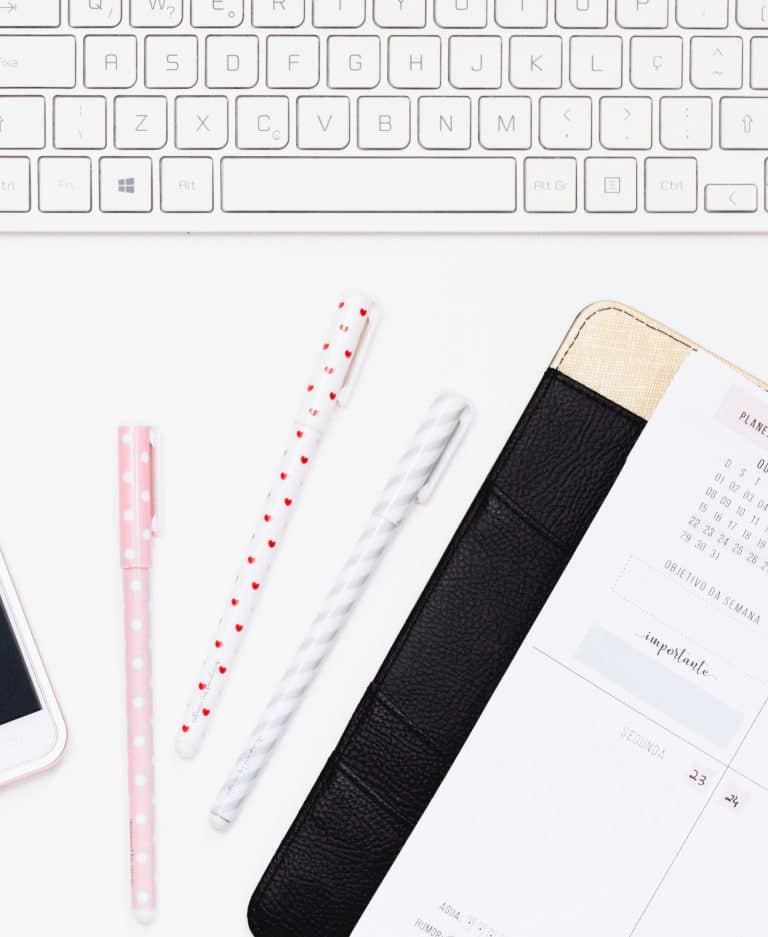planner pen and keyboard