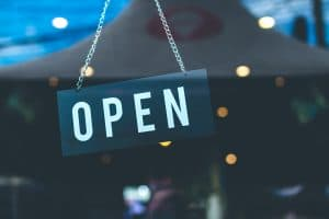 Open sign in the retail store