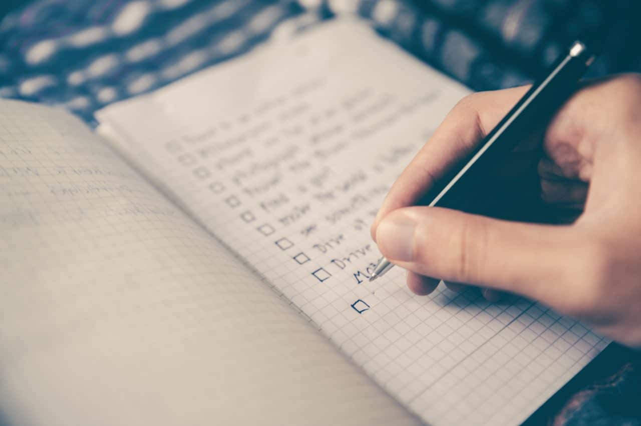 Writing Checklist on Notebook